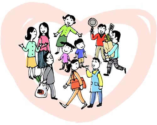 「アグネスの教育アドバイス 子どもが健全な恋愛・結婚観を持てるようにするには?」イラスト