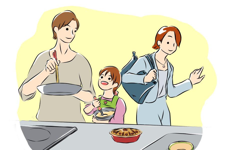 父親が子どもといっしょに料理をしている様子