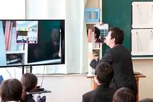 実物投影機のカメラを鏡に向けて実験