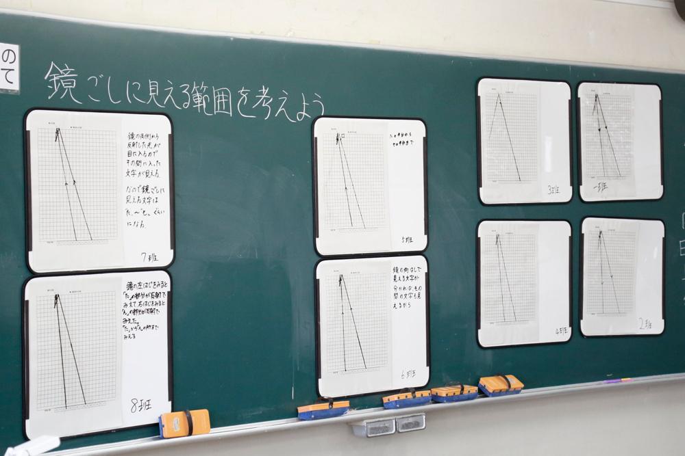 班ごとに仮説をホワイトボードに書き込み発表