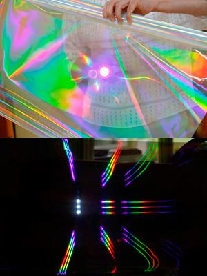 虹を作る実験で使った分光シート。明るい部屋で見ると写真上、暗い部屋で見ると写真下