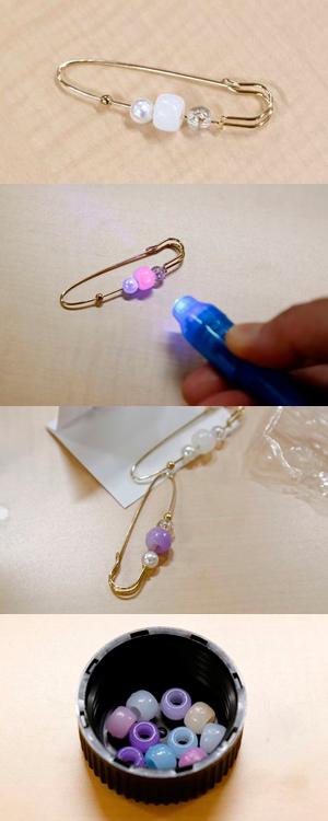 最後の実験で使用したUVビーズ。紫外線ライトを当てると白いビーズが紫色や水色等、色とりどりに変色する