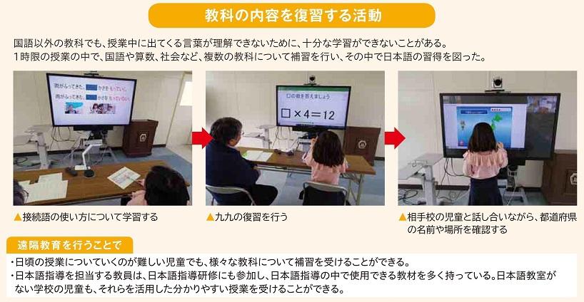 国語以外の教科でも、授業中に出てくる言葉が理解できないために、十分な学習ができないことがある。1時限の授業の中で、国語や算数、社会など、複数の教科について補習を行い、その中で日本語の習得を図った。