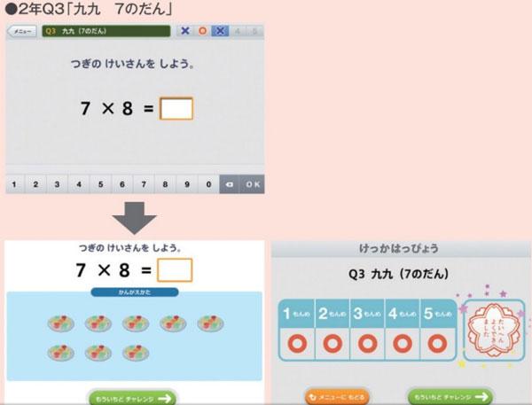 デジタルドリルの例(株式会社カルチャー・プロ「新・算数基礎がため」)