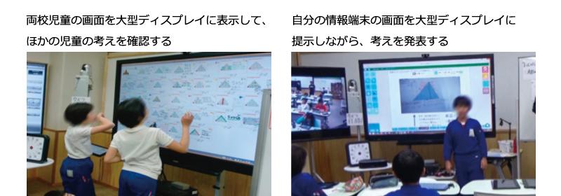 左:両校児童の画面を大型ディスプレイに表示して、ほかの児童の考えを確認する 右:自分の情報端末の画面を大型ディスプレイに提示しながら、考えを発表する