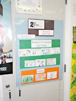 児童がブラックフォードさんと合意した学校内での行動規則。人や物を尊重する、安全についての10の合意した規則が書かれています。