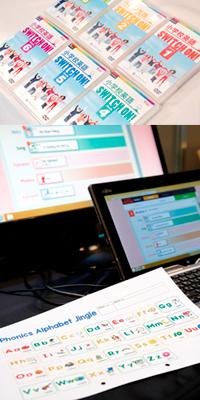 写真上:『小学校英語 SWITCH ON!』。教材に収録された動画を何度も繰り返し見て、習得・定着させていく。「授業のねらいに応じて、同じ素材でも異なる活動を行い、子どもの英語力が向上するよう設計されています」と須藤氏 写真下:ワークシートなどのプリント類も、PDF形式で収録。印刷すればすぐに授業で使える