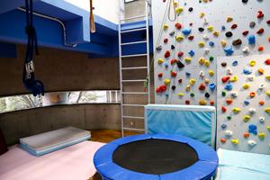 みくりキッズくりにっく院内の広々とした運動療法室。ボルダリングやトランポリン、吊り遊具などが設置され、専門の作業療法士によるハビリテーションを受けられる