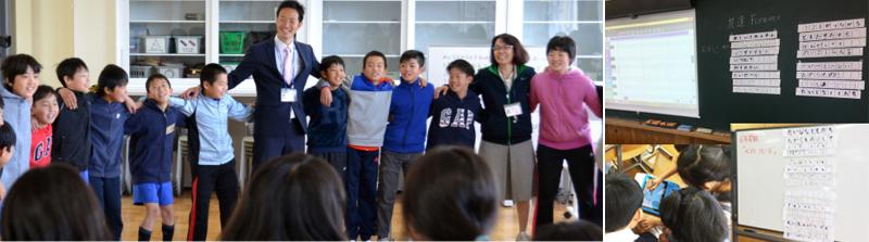 左:校歌ならぬ学年歌を創って、修了式で合唱 右:友達へのプレゼントソング作り