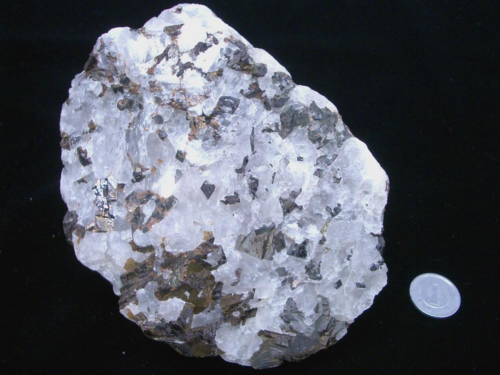 〈写真2〉 氷晶石(白色の部分)。グリーンランド産。産業技術総合研究所・地質標本館所蔵標本(登録番号GSJM15687)。