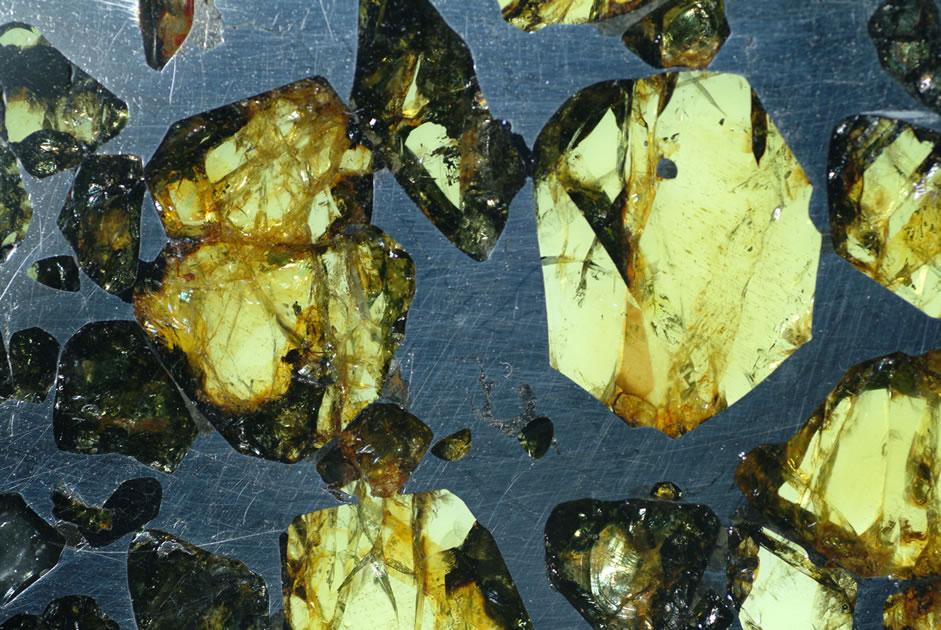 <写真4>石鉄隕石。アルゼンチン共和国・エスケルに落下し、1951年に発見されたもの。写真横幅約4cm。産業技術総合研究所・地質標本館所蔵標本(登録番号R78254)。写真撮影・提供:青木正博・地質標本館館長。(クリックで拡大)