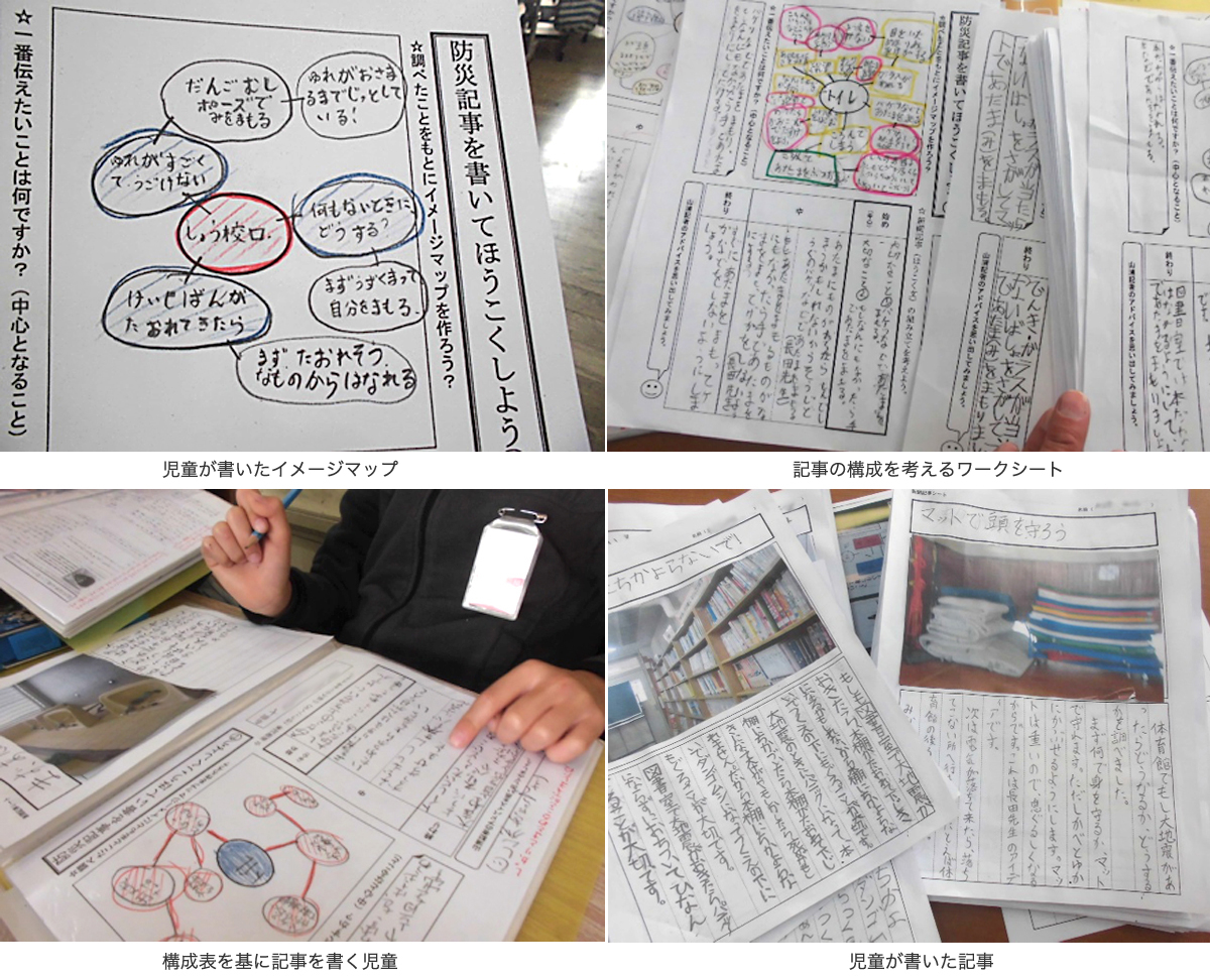 (児童が書いたイメージマップ) (記事の構成を考えるワークシート) (構成表を基に記事を書く児童) (児童が書いた記事)
