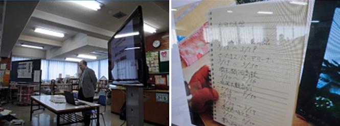 児童に話をする上田さん 上田さんが示した資料