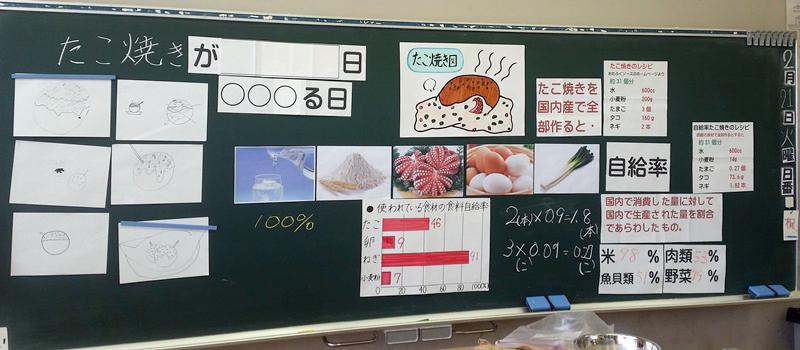 食育と授業:たこ焼きがなくなる日 板書