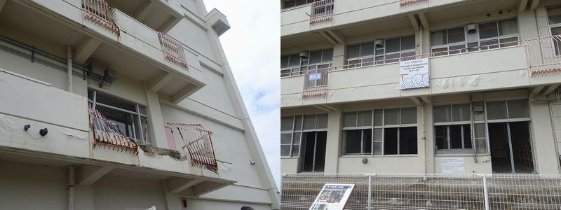 2階まできた津波、津波によって壊されたベランダ