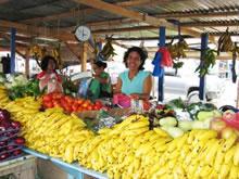 ローカルマーケットにて。熱帯作物が ずらりと並ぶ。バナナは1本約5円。